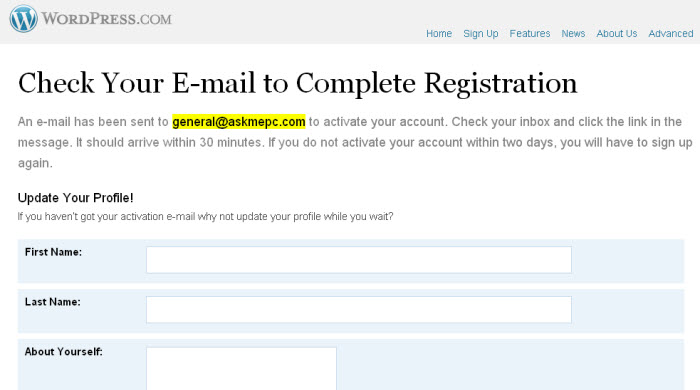 free blog email confirmation