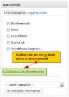 WordPress kategória létrehozása cikkírás közben
