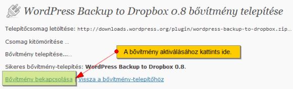 Telepített WordPress bővítmény aktiválása