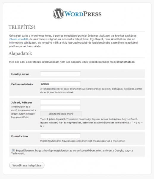 WordPress telepítése lépésről-lépésre - 5. rész