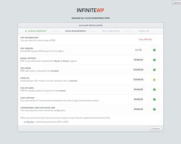 InfiniteWP telepítési feltételek