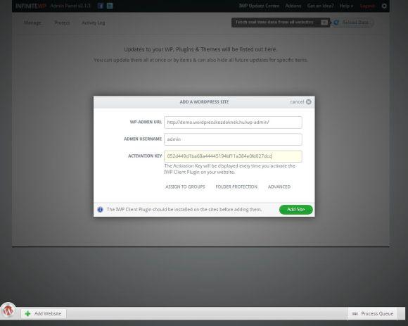 Weboldal hozzáadása az InfiniteWP adminban