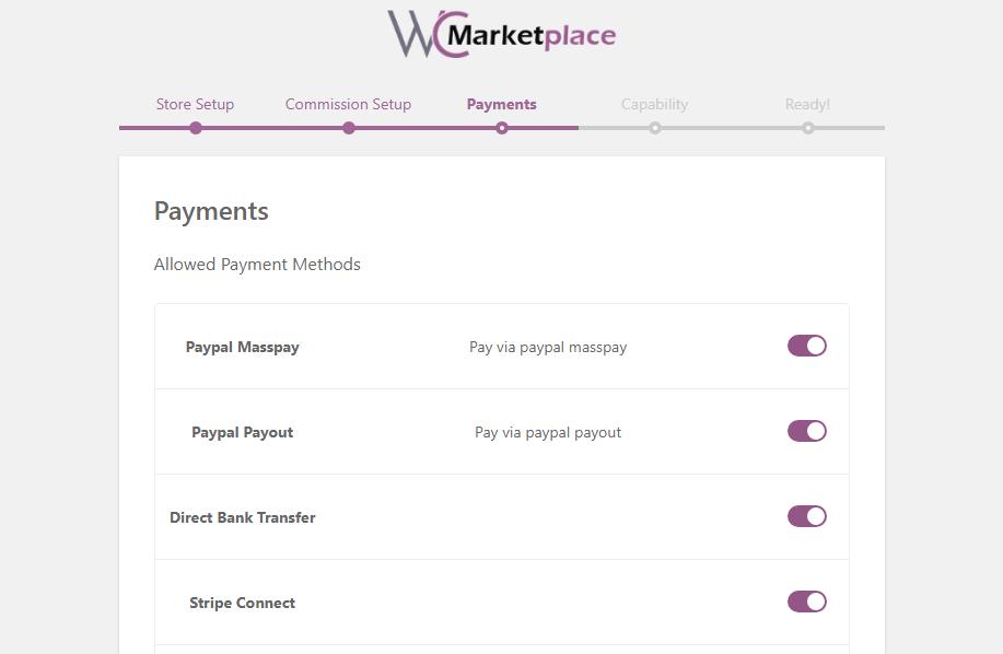 woocommerce wc marketplace payment setup