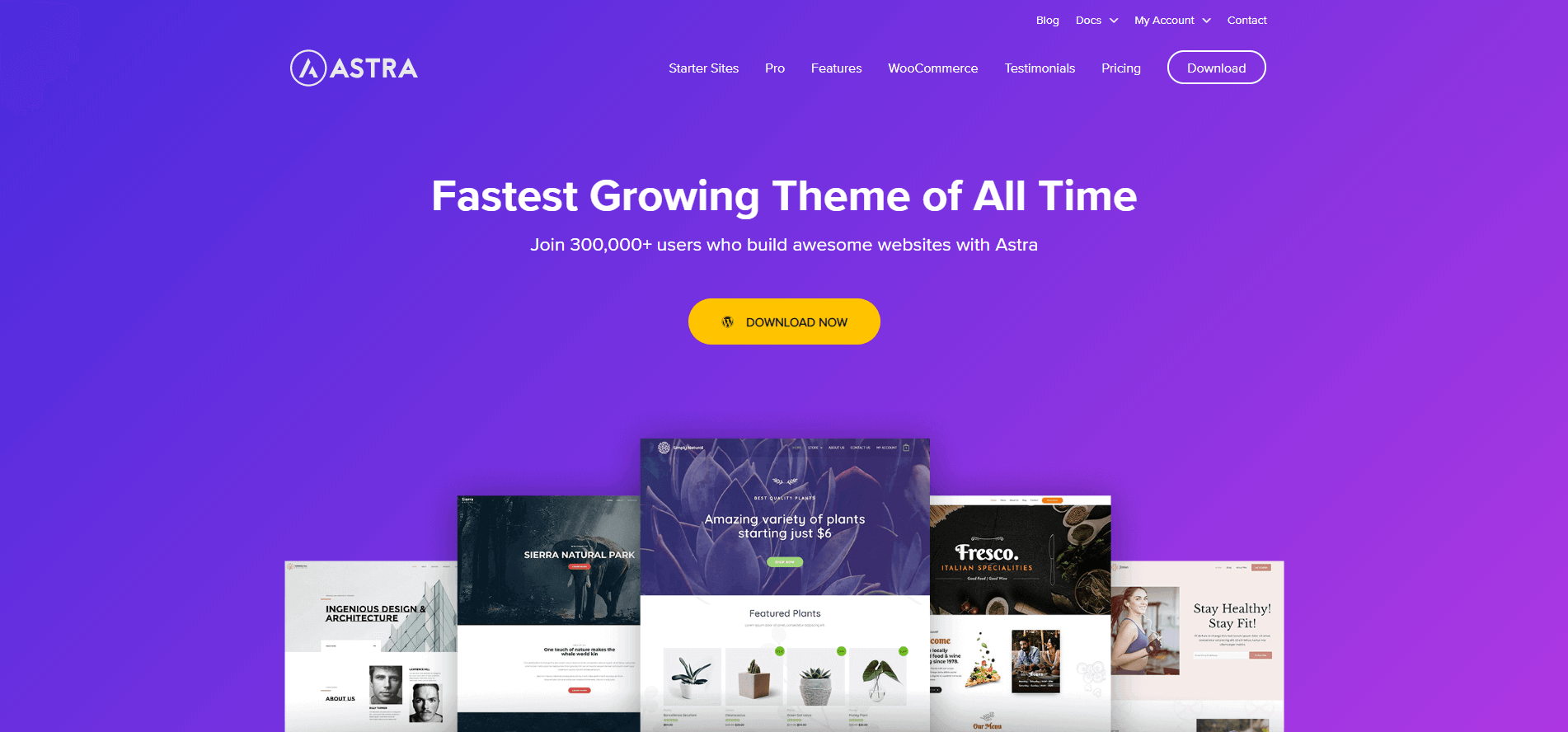 Astra Fastest Growing WordPress Theme