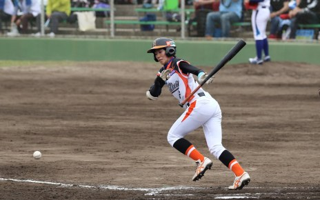 A player running out of the batter's box in a Japan Women's Baseball League game.