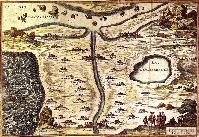 "Mme de Scudery's 17th-century ""Carte du Tendre"""