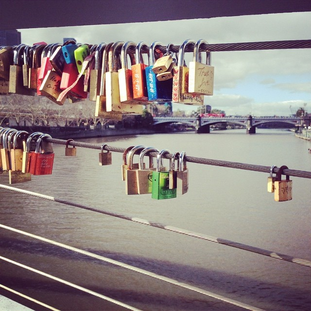 Love Locks on a Foot Bridge