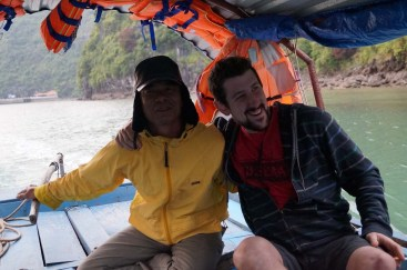 Our boat driver and Graham, Lan Ha Bay