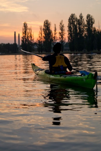 Paddling into the Burley Griffin dawn