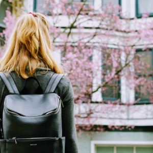 girl tree spring blooms