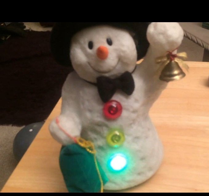 Snowman toy with light up buttons