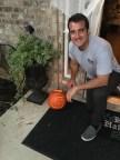 Michael carved pumpkins