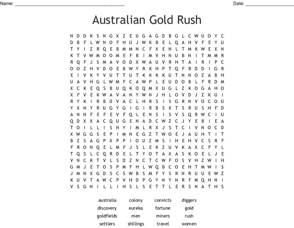 Australian Gold Rush Word Search