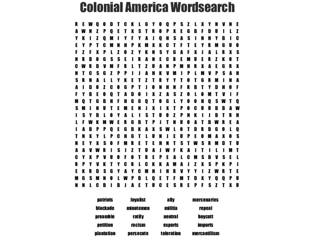 Colonial America Wordsearch