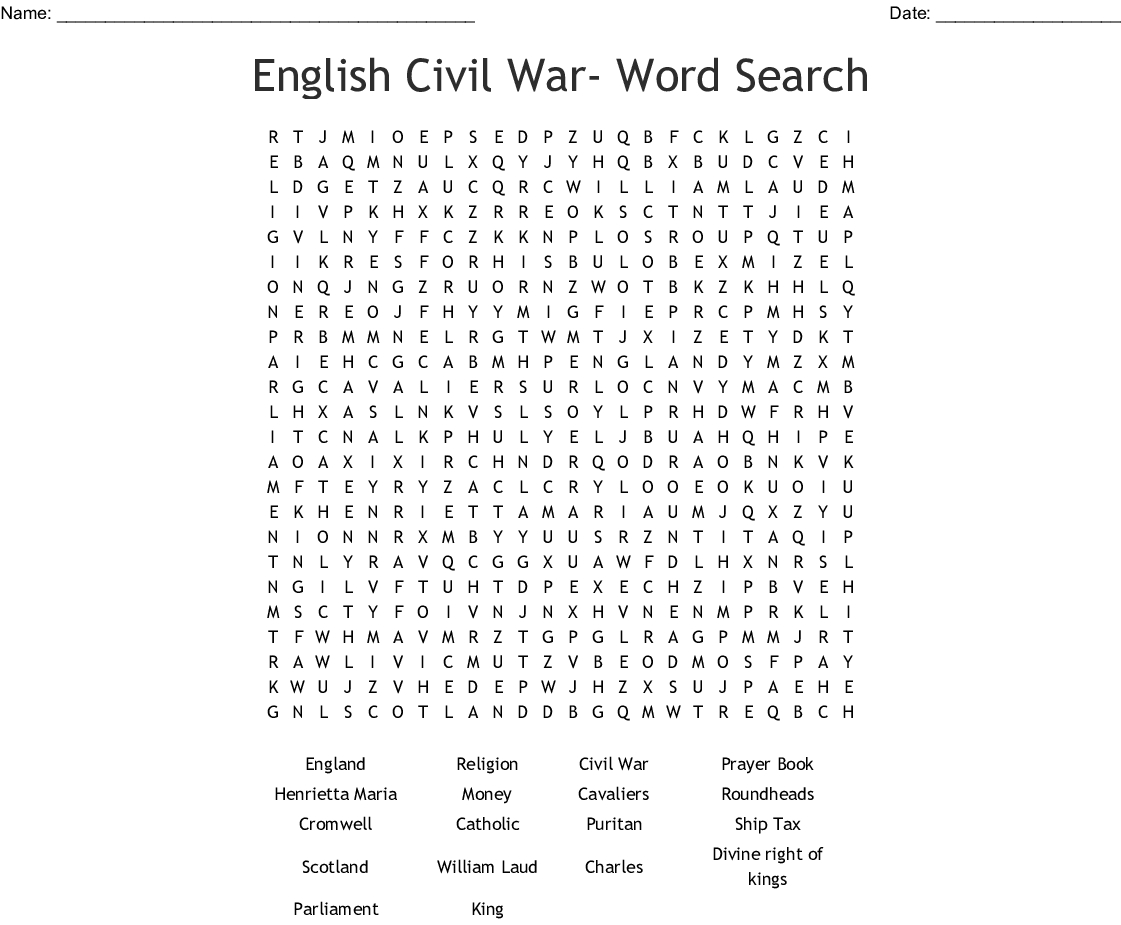 Civil War Word Search Printable