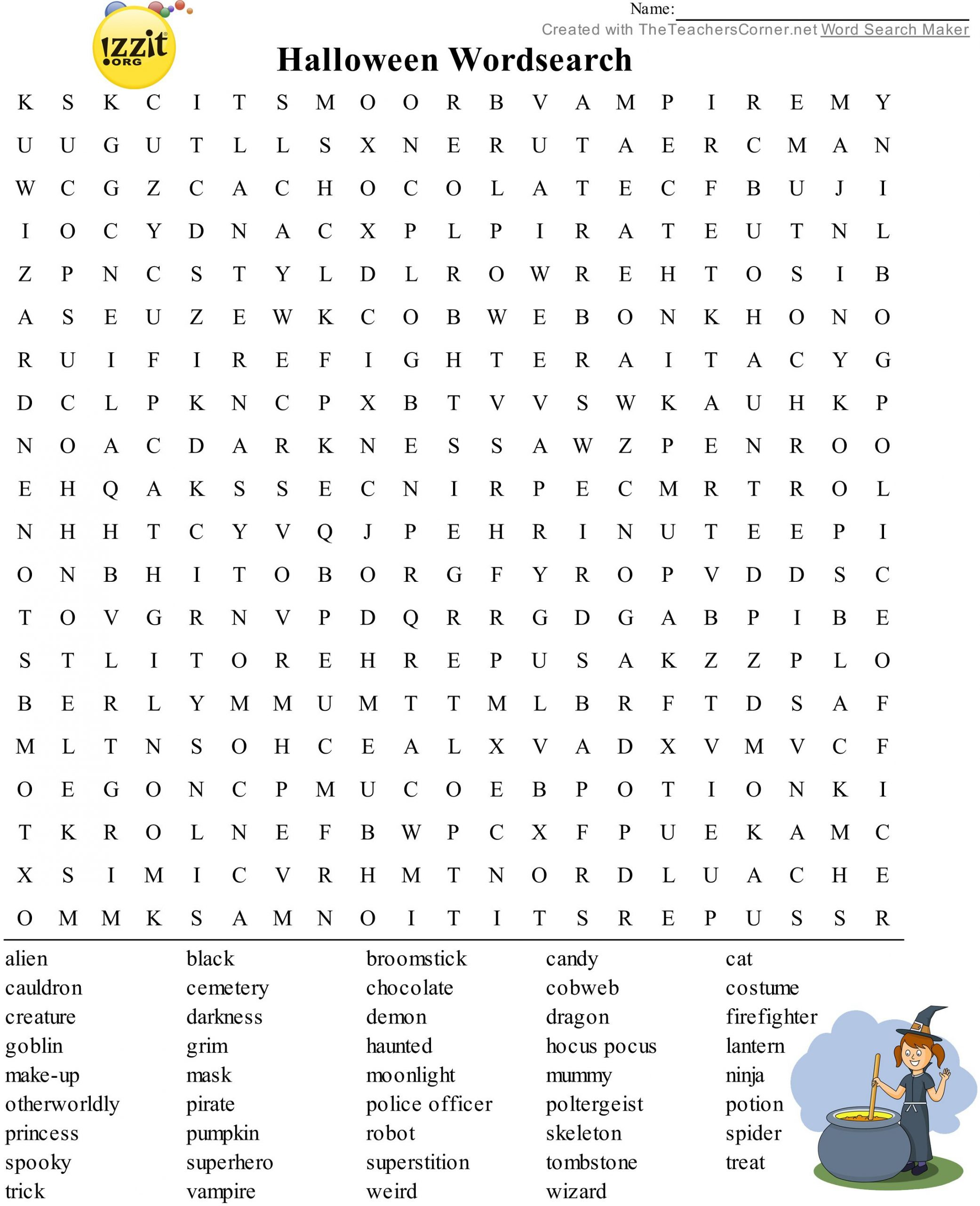 Difficult Halloween Word Search Printable