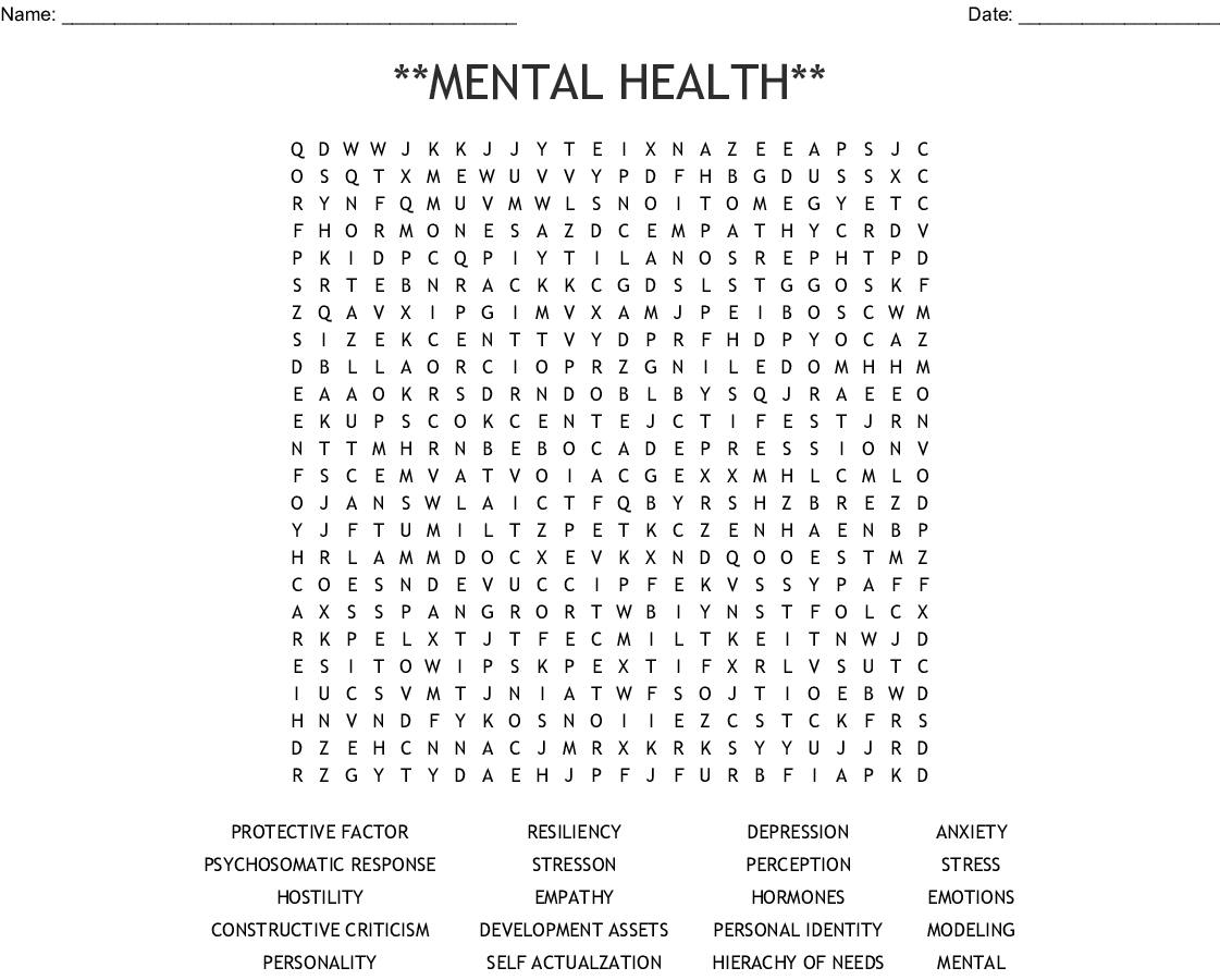 Printable Mental Health Word Search Puzzles