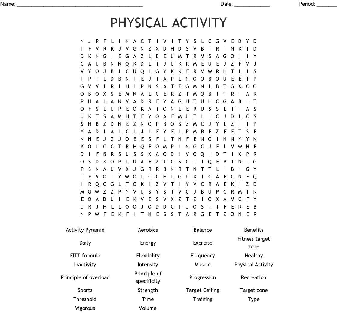 Exercise Word Search Printable