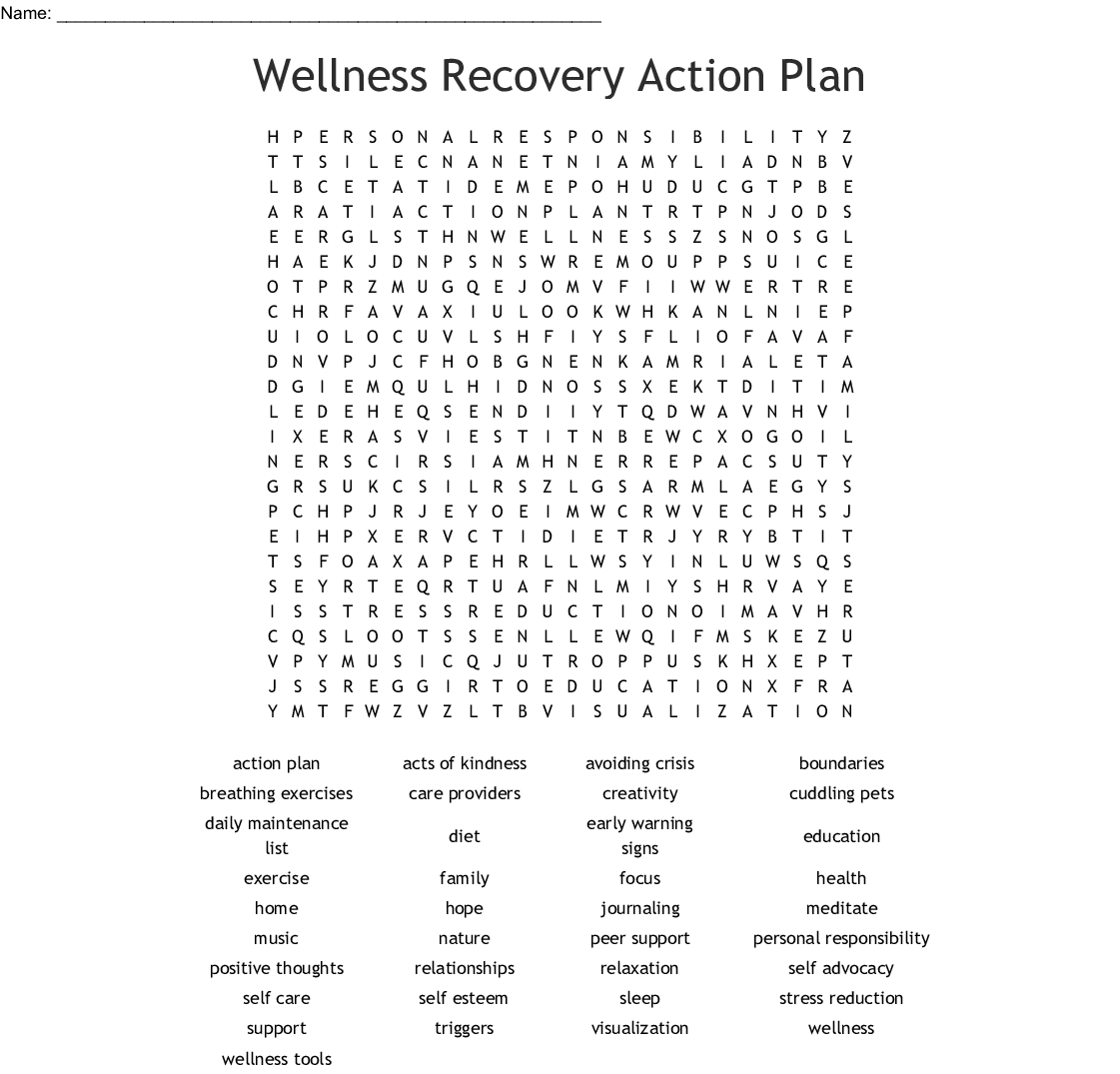 Recovery Word Search Printable