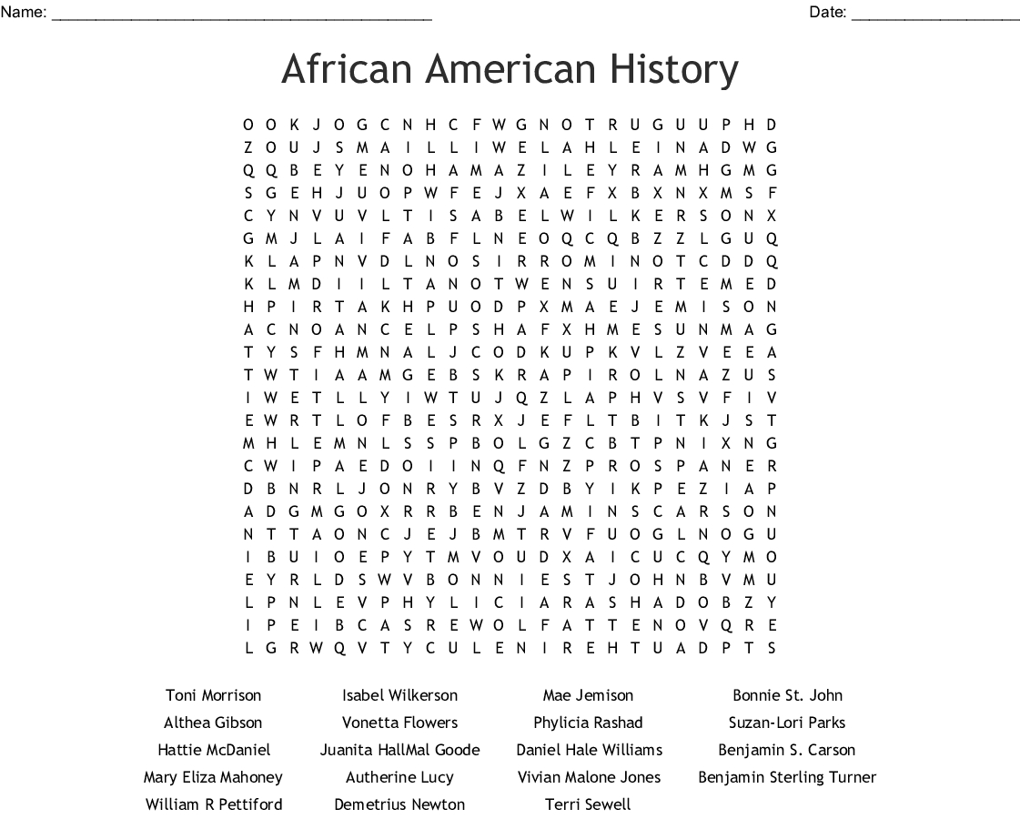 Free Printable Black History Word Search Puzzles