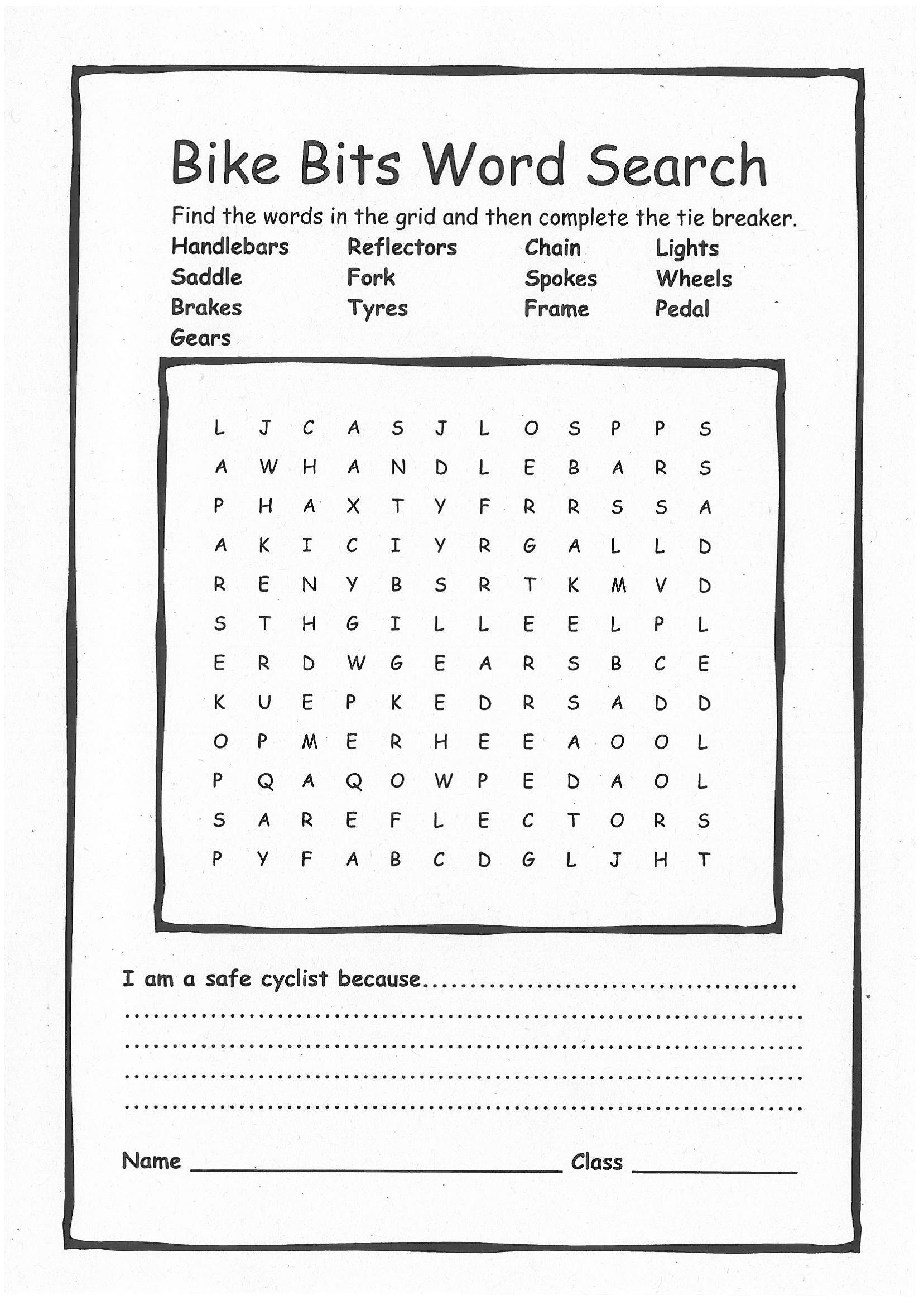 Safety Signs Word Search