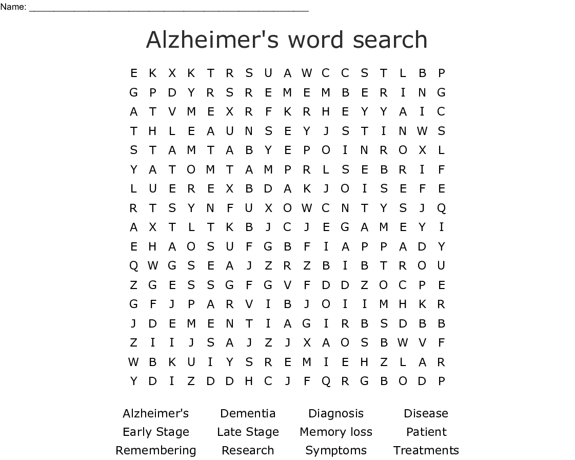 Alzheimer S Word Search