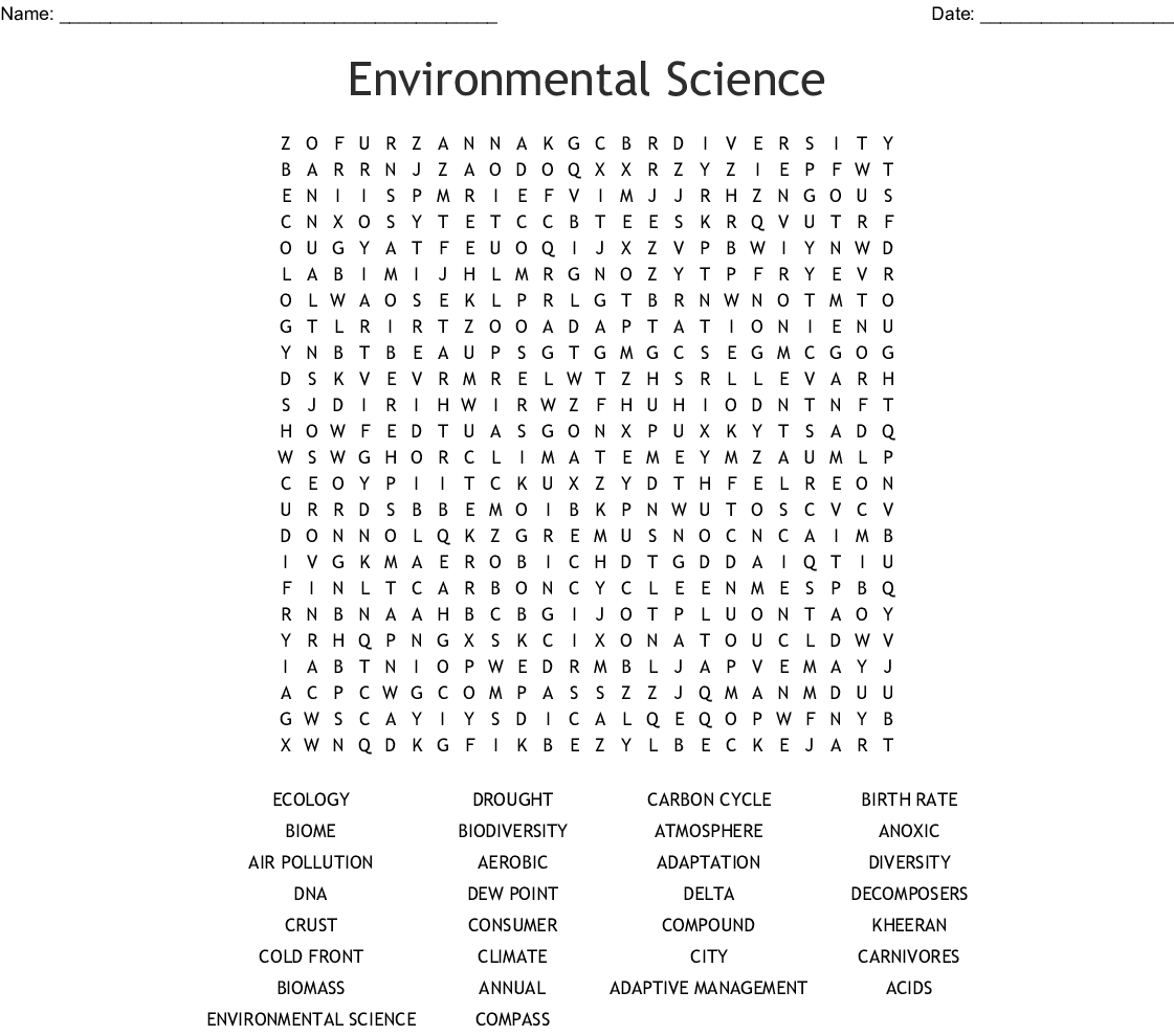 Science Word Search Puzzles Printable