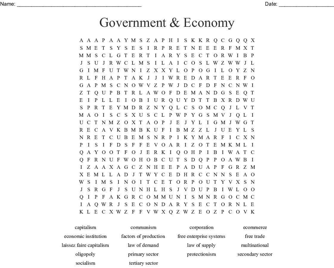 No Prep Economics Word Search Puzzle