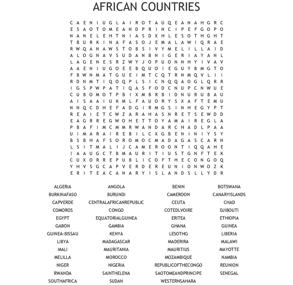 Most Populated Countries Of The World Word Search