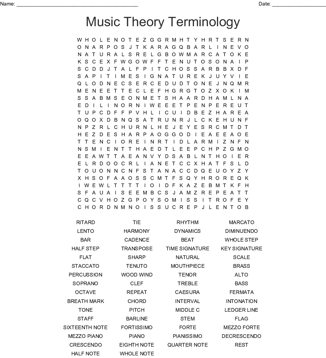 Music Word Search Puzzles Printable