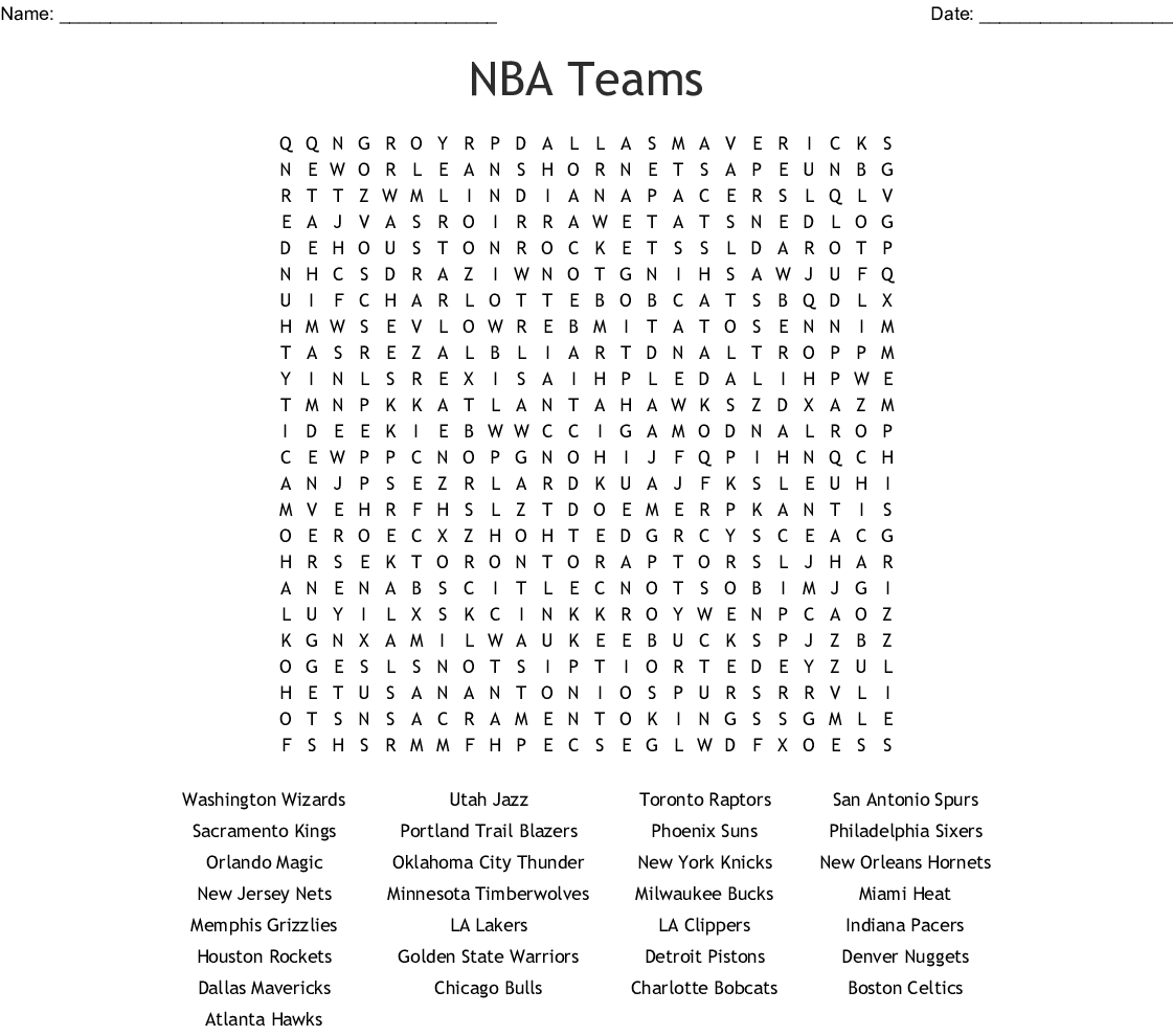 Nba Teams Printable Word Search Puzzle