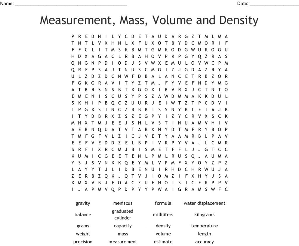 The Properties Of Matter Word Search