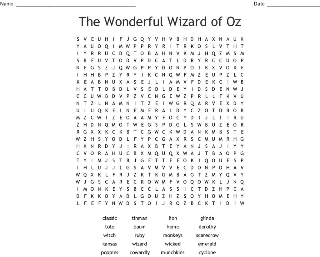 Wizard Of Oz Crossword Puzzle