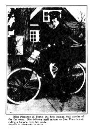 Florence A. Stone, the first woman mail carrier of the far west. (1918)