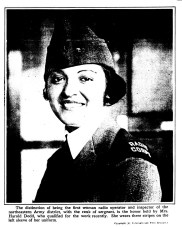 Mrs. Harold Dodd, first woman radio operator and inspector for the northeastern Army district. (1918)