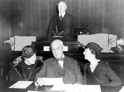 Mrs. Thomas N. Hepburn (l) discusses birth control bill with Representative Walter Pierce and Margaret Sanger at hearing before House Judiciary Committee