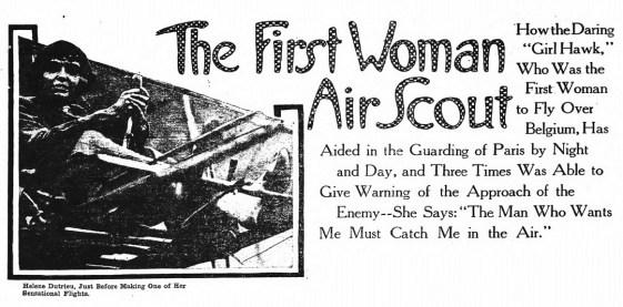 Helene Dutrieu, first woman air scout. (1915)