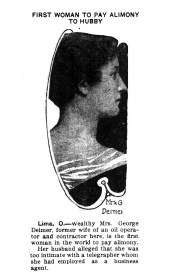 Mrs. George Leimer, first woman to pay alimony. (1914)