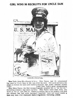 Edna Payne, first woman recruiting sergeant. (1916)