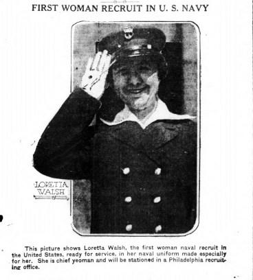 Loretta Walsh, first woman to become a regular sailor. (1917)