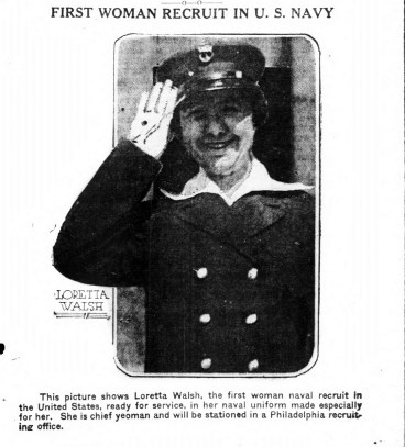 Loretta Walsh, first woman to become a regular sailor. (1917)