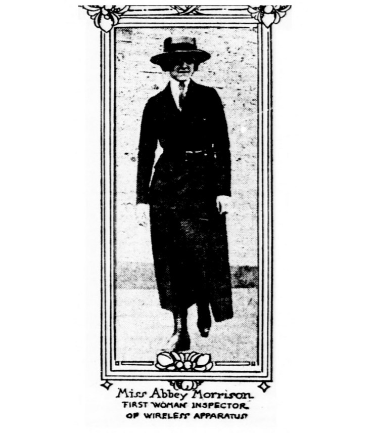 Abbey Morrison, first woman inspector of wireless apparatus. (1918)