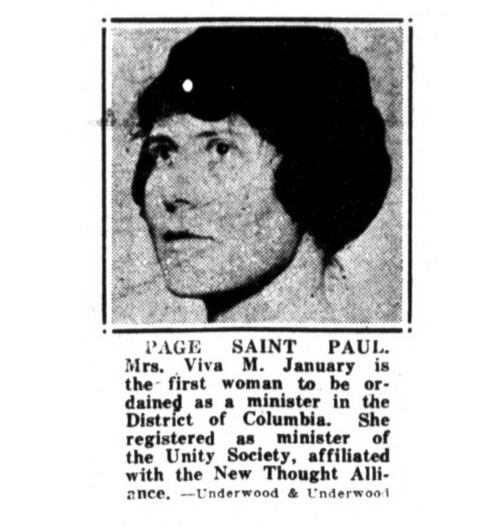 Viva M. January, first woman ordained minister in Washington D.C. (1922)