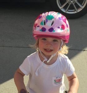 Toddler wearing helmet
