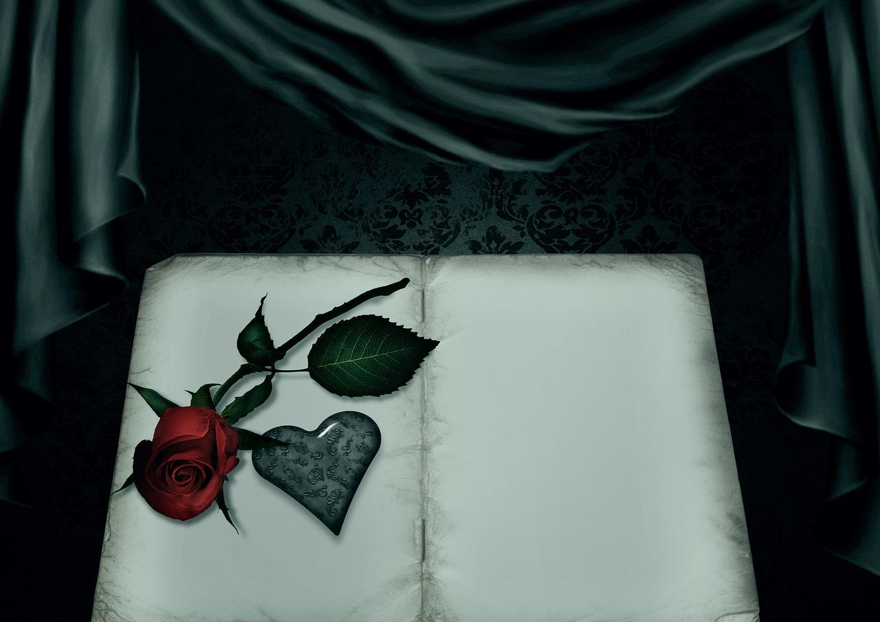 a book, rose, heart