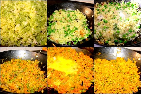 Add the salt, turmeric, chilli powder and pav bhaji masala (I find garam masala too strong for my delicate digestion so I use pav bhaji masala) and sauté till nicely golden.