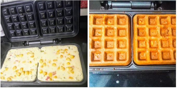 Savoury Corn Waffles  Method