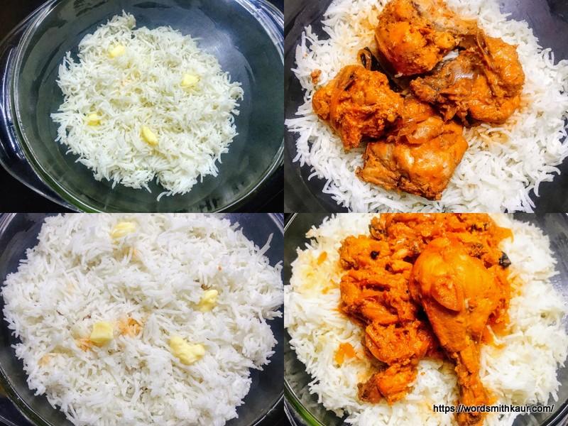 Layering the Baked Chicken Biryani Recipe