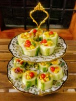 elegant corn salad in cucumber boats