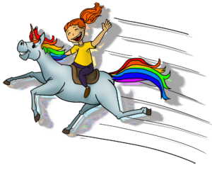 I rode a rainbow unicorn